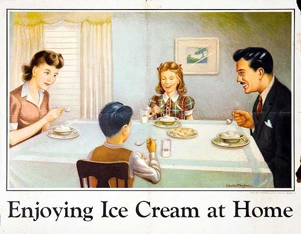 Enjoying Ice Cream, at Home Original National Dairy Council Milk Promotion Poster