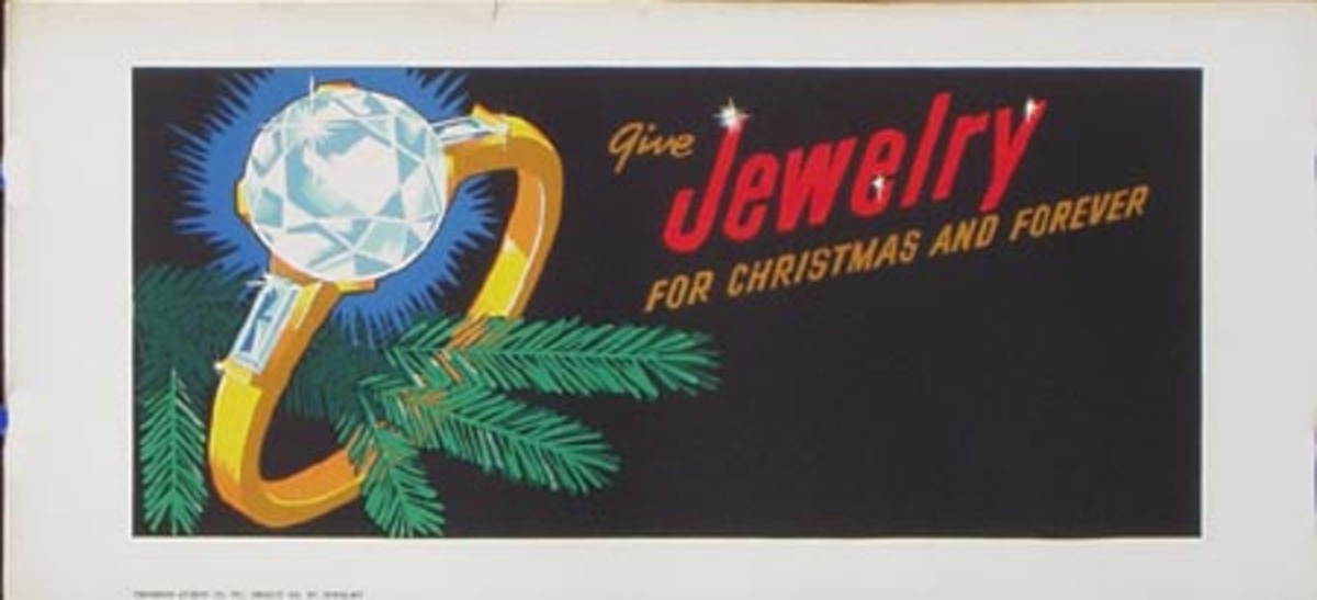 Stock Original Vintage Advertising Poster Jewelry For Xmas and For Ever