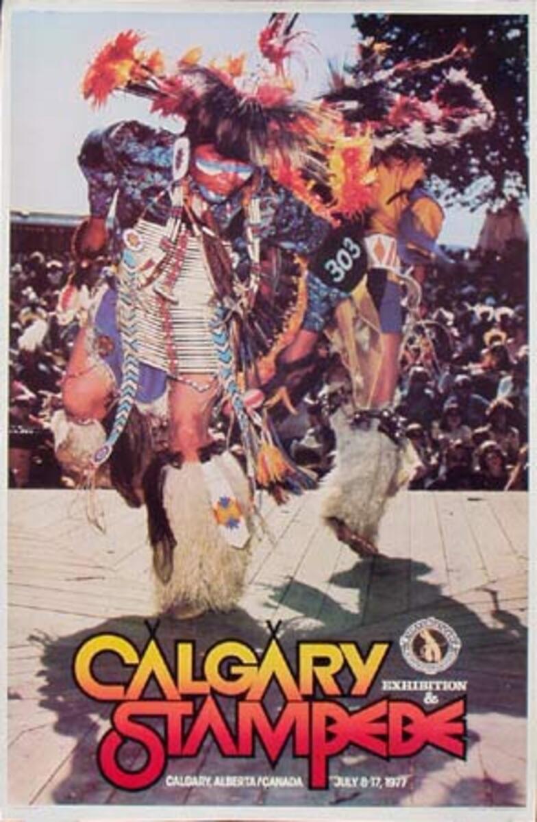 Calgary Alberta Canada Stampede Original Vintage Rodeo Travel Poster 1977