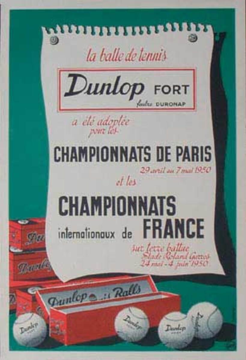 Original Vintage Dunlop Tennis  Balls Advertising Poster