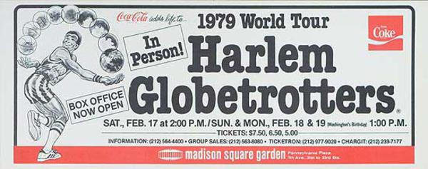 The Harlem Globetrotters 1979 World Tour Original Advertising Poster Madison Square Garden
