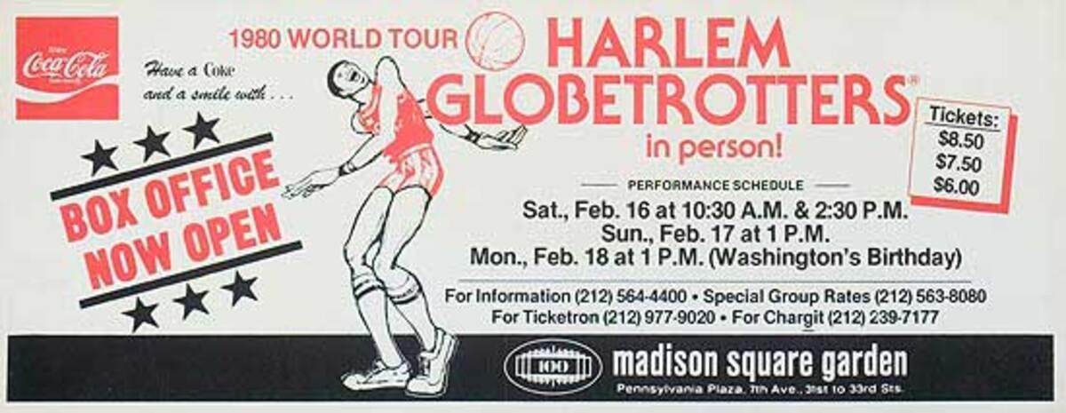 The Harlem Globetrotters 1980 World Tour Original Advertising Poster Madison Square Garden