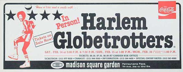 The Harlem Globetrotters Original Advertising Poster In Person Valentines Day