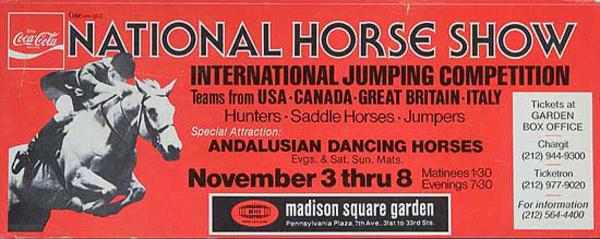 National Horse Show International Jumping Competition Nov 3-8 Madison Square Garden Advertising Poster