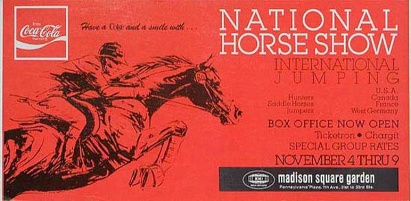 National Horse Show International Jumping Competition Nov 4-9 Madison Square Garden Advertising Poster
