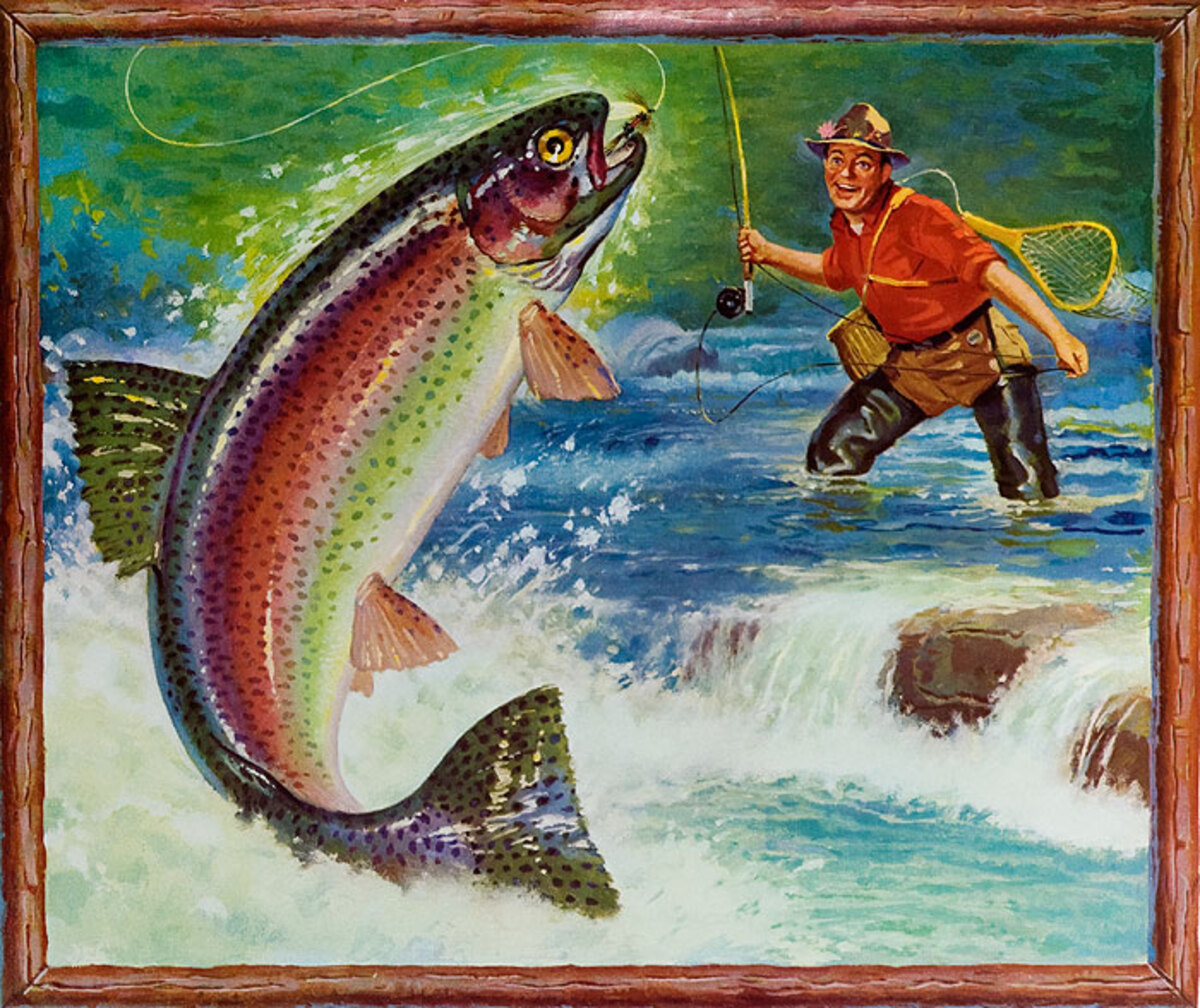 Original 1950s Diner Poster Fly Fisher