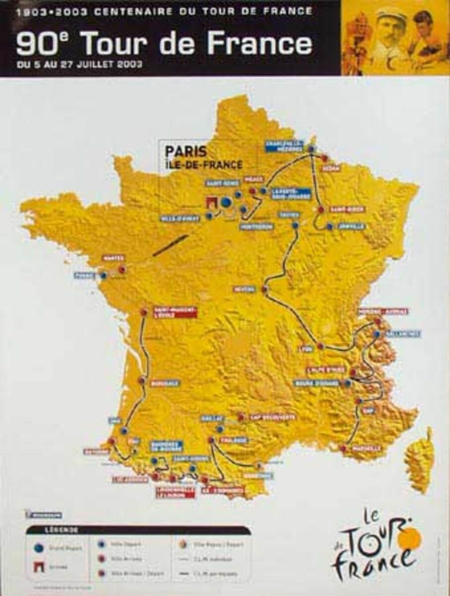 Original 2003 Tour de France Poster course route