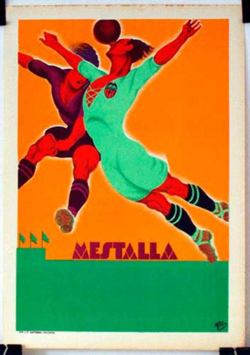 Original Vintage Mestalla Soccer Poster