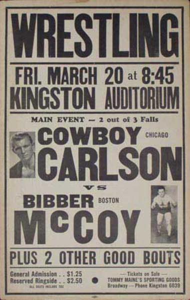 Pro Wrestling Original Poster Cowboy Carlson vs Bibber McCoy  Plus 2 Other Good Bouts