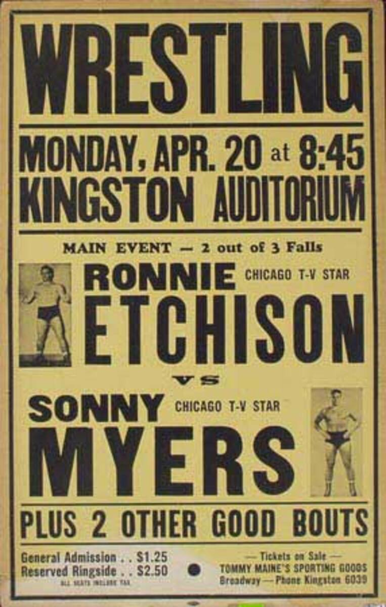 Pro Wrestling Original Poster Ronnie Etchison vs Sonny Myers Plus 2 Other Good Bouts