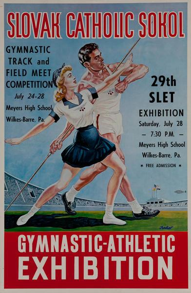 Slovak School Gymnastic Event Original Poster Boy Girl