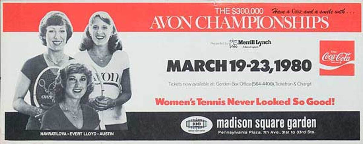 Avon Championships Womens Tennis  Advertising Poster Mar19-23 1980