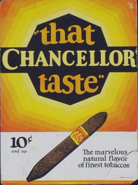 Chancellor Cigars 10 cent Original Vintage Advertising Poster