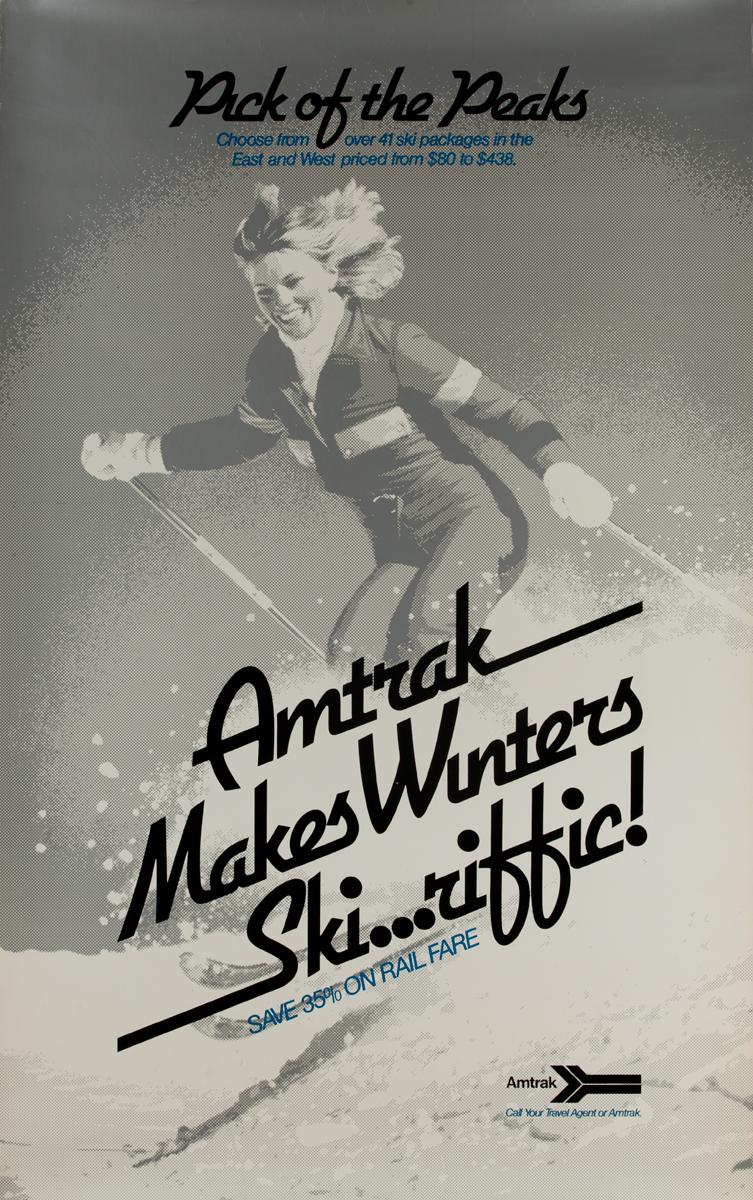 Amtrak Winter Ski...riffic Original Vintage Travel Poster