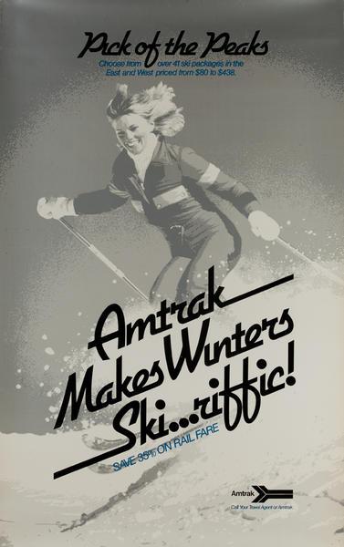 Amtrak Winter [[Ski]]...riffic Original Vintage Travel Poster