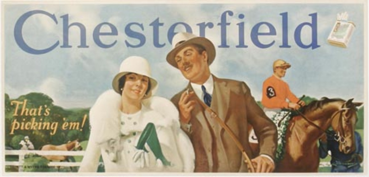 Chesterfield Cigarettes Horse Race Original Advertising Poster