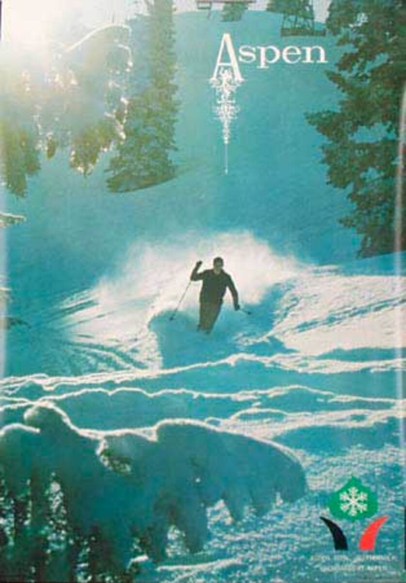 Aspen powder Original Vintage Ski Poster