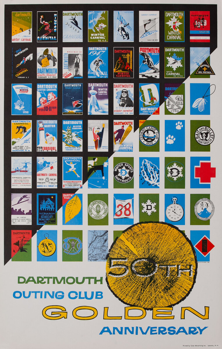 Dartmouth Outing Club Golden 50th Anniversary  Winter Carnival Poster