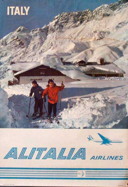 Alitalia Airlines Ski Poster