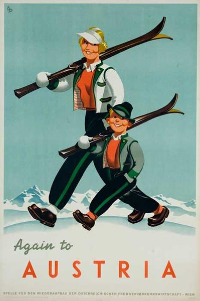Oiginal Austrian Ski Poster Mother Child