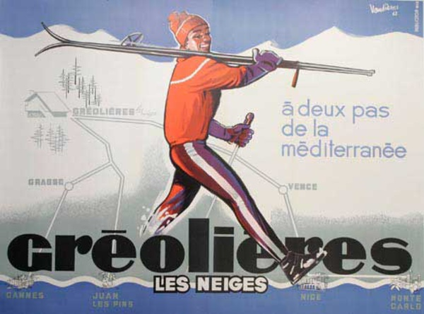 Original French Advertising Travel Ski Poster Greolieres