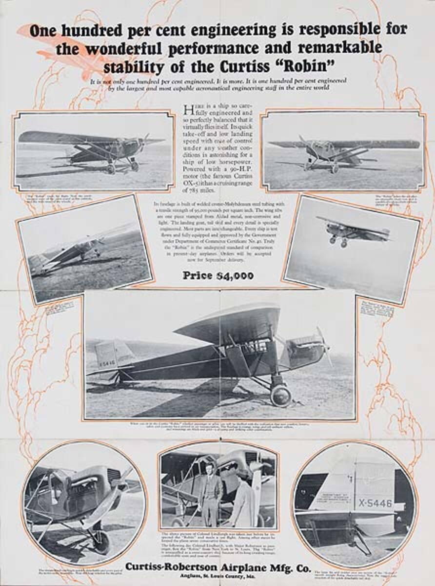 Original Curtis Robin Aircraft Sales Poster