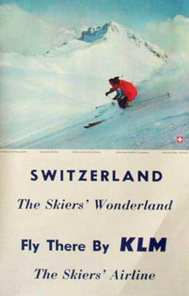 Original KLM Airlines Ski Travel Poster