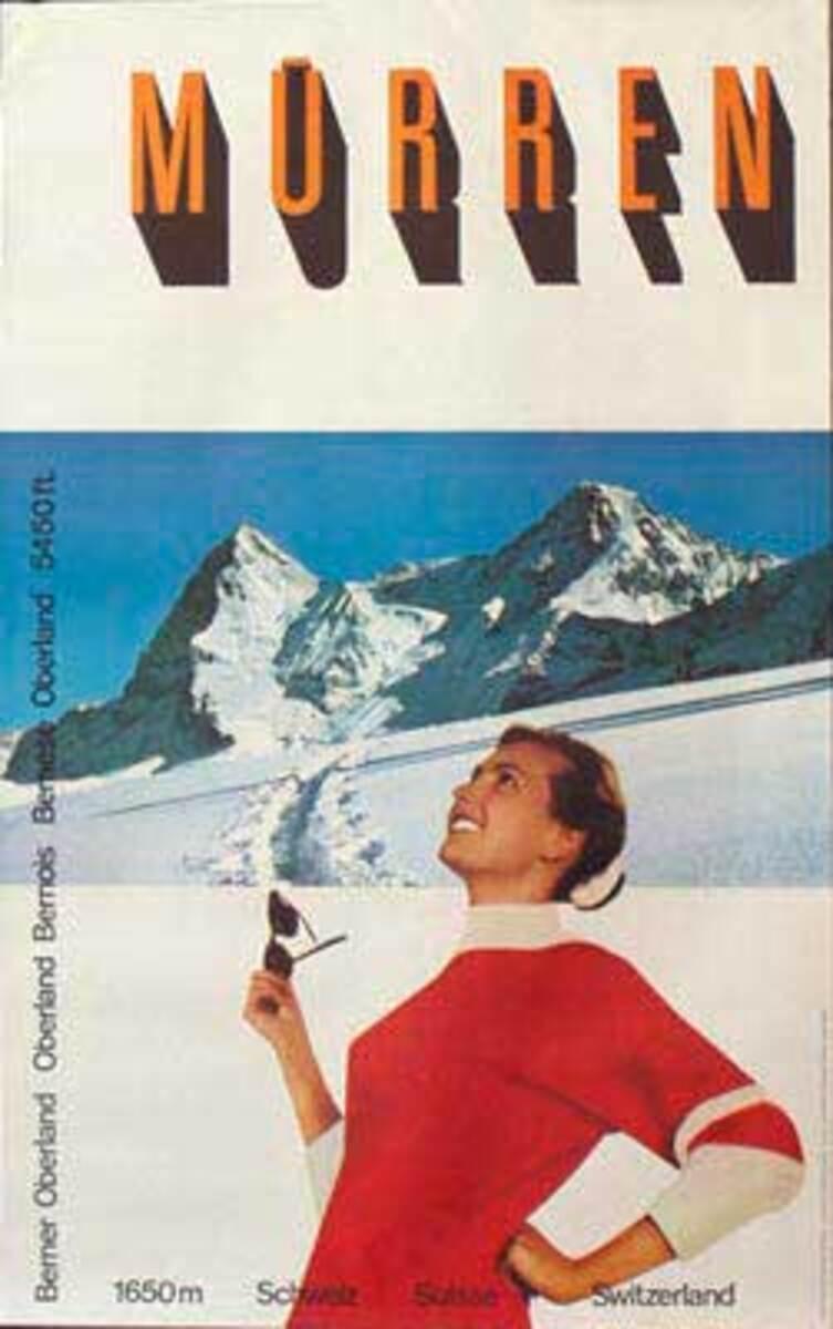 Original Vintage Swiss Ski Travel Poster Murren