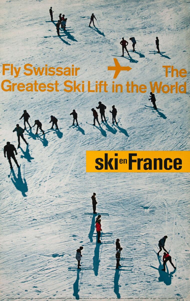 Original Vintage Swissair Travel Poster Ski In France