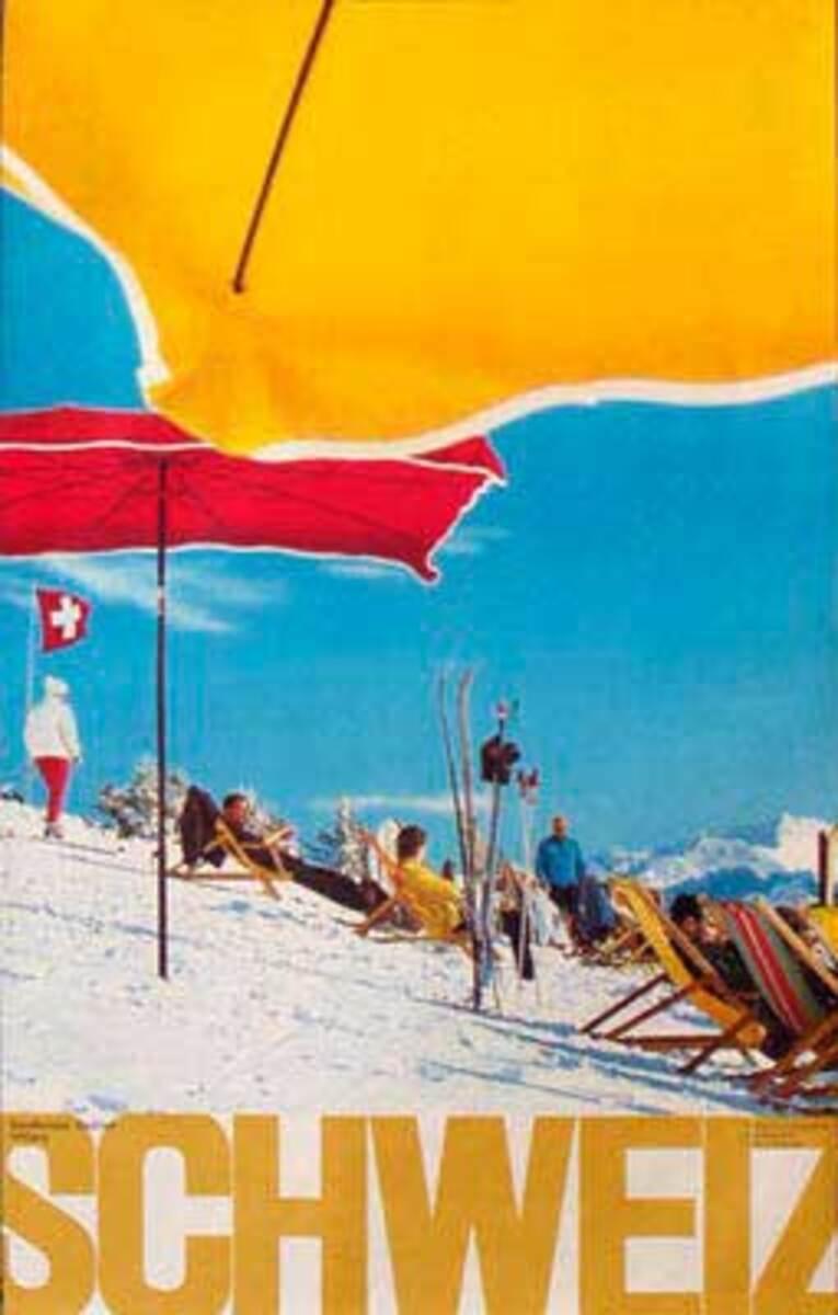 Original Vintage Swiss Ski Travel Poster SCHWEIZ photo