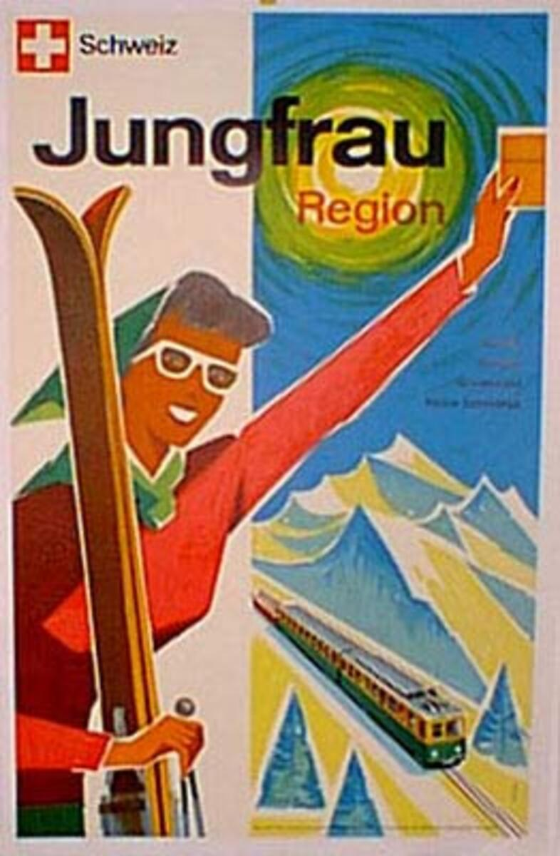 Original Vintage Swiss Travel Poster Jungfrau Ski