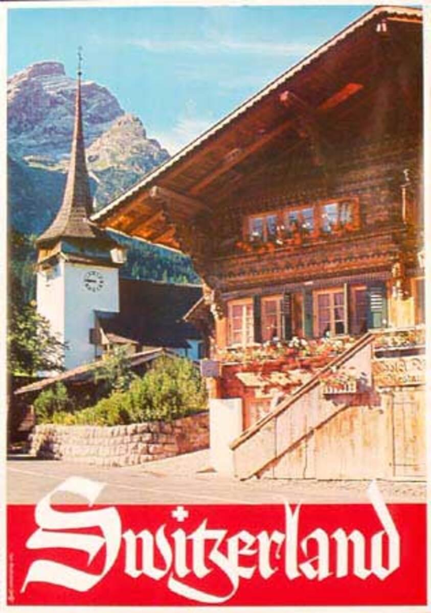 Swiss Chalet Original Vintage Ski Poster