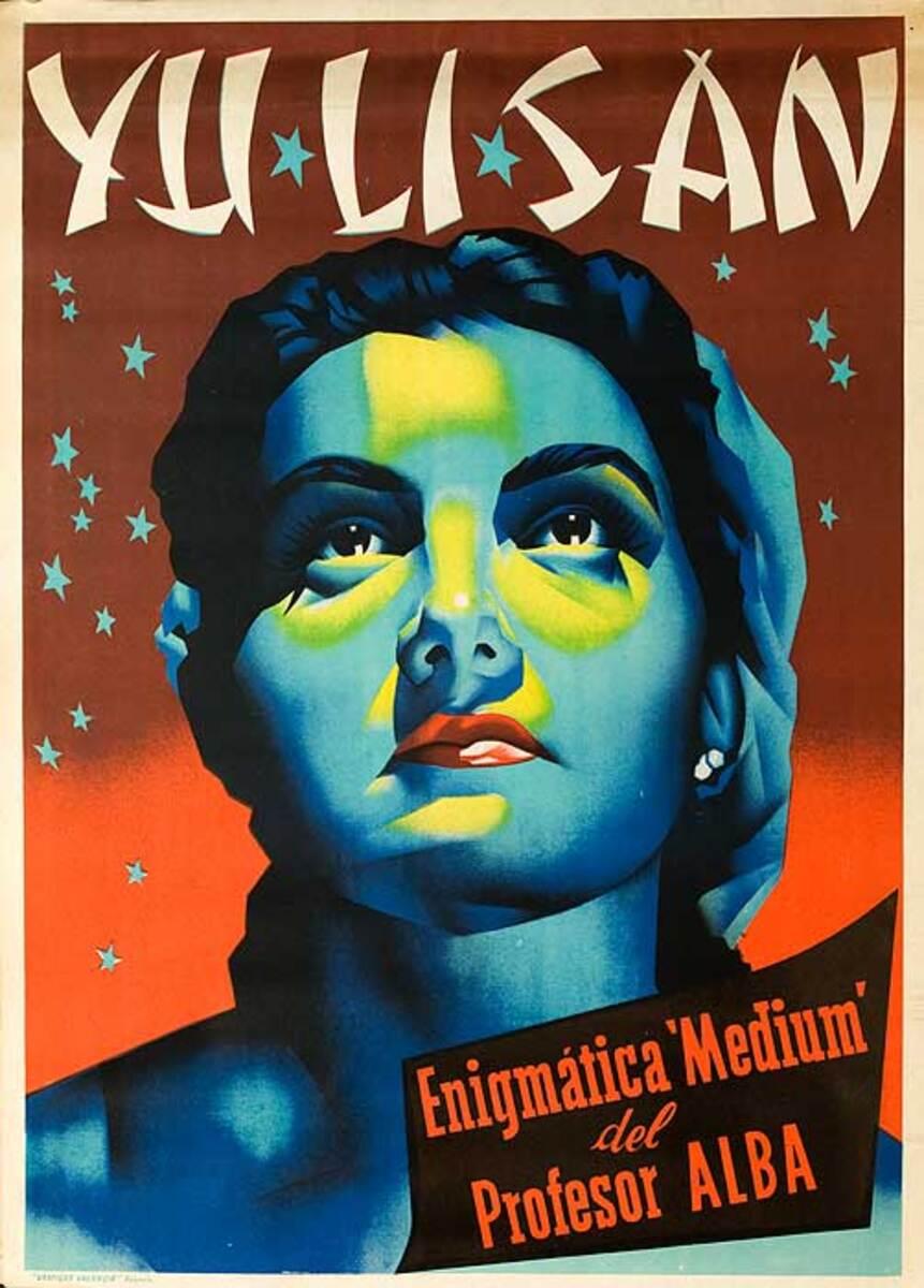 Yu Li San Enigmatic Medium of Profesor Alba  Original Spanish Magic Poster