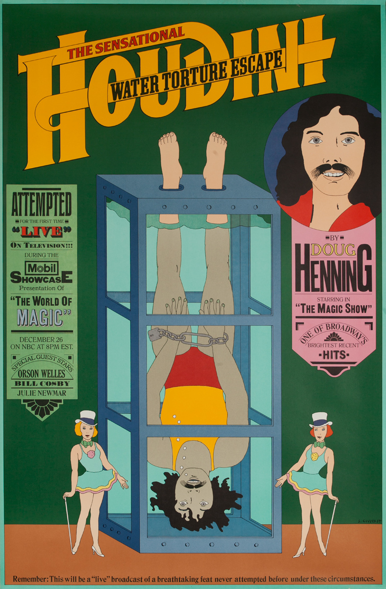 Doug Henning Water Torture Mobil TV Original Magic Poster