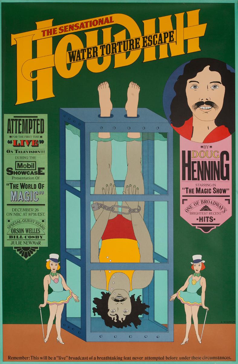 Doug Henning Water Torture Mobil TV Original Magic Poster