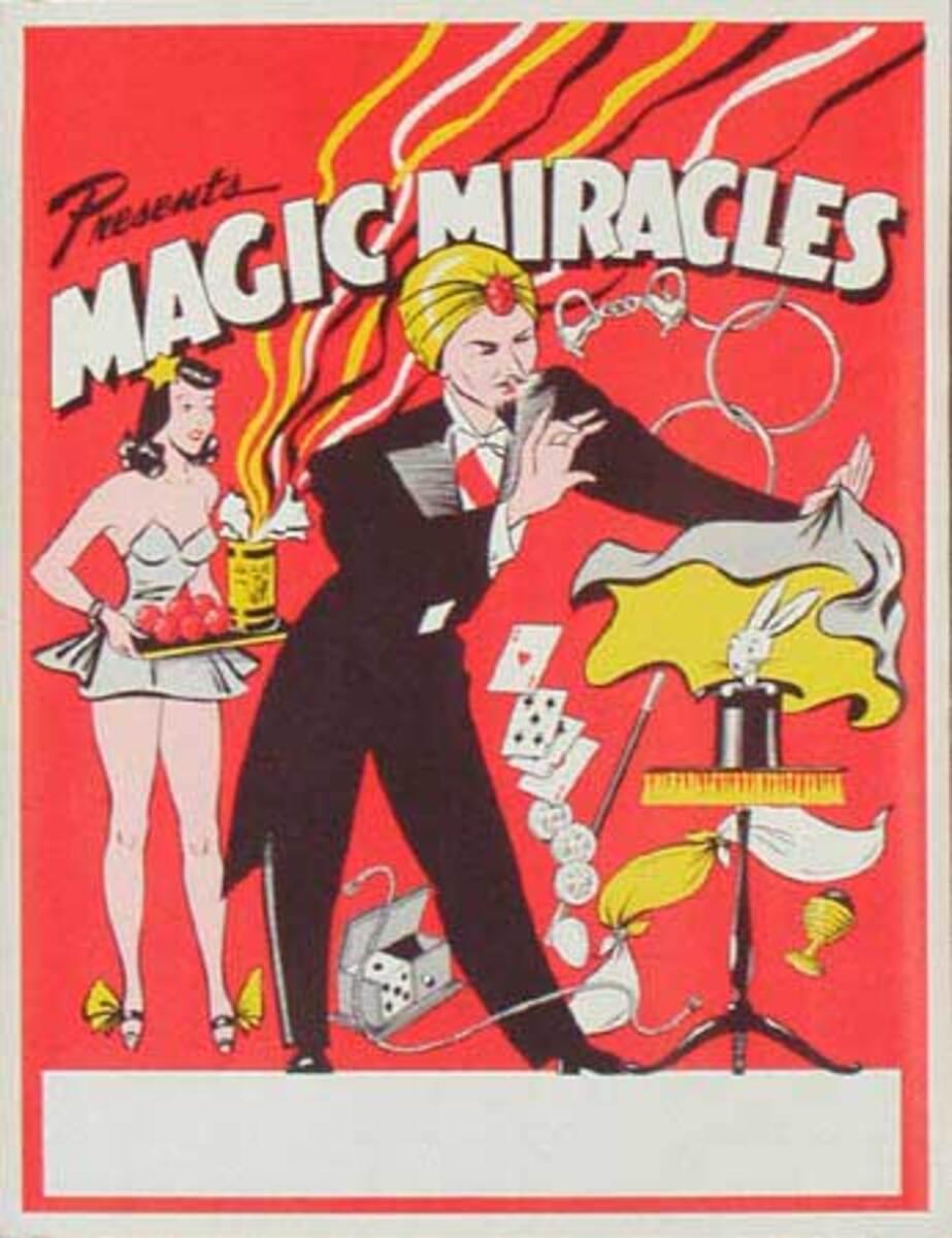 Original Vintage Magic Poster Magic Miracles
