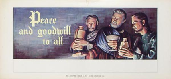 Stock Original Vintage Advertising Poster Peace and Goodwill
