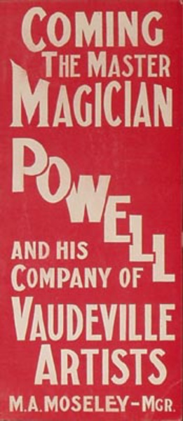 Original Vintage Powell Magician Poster red