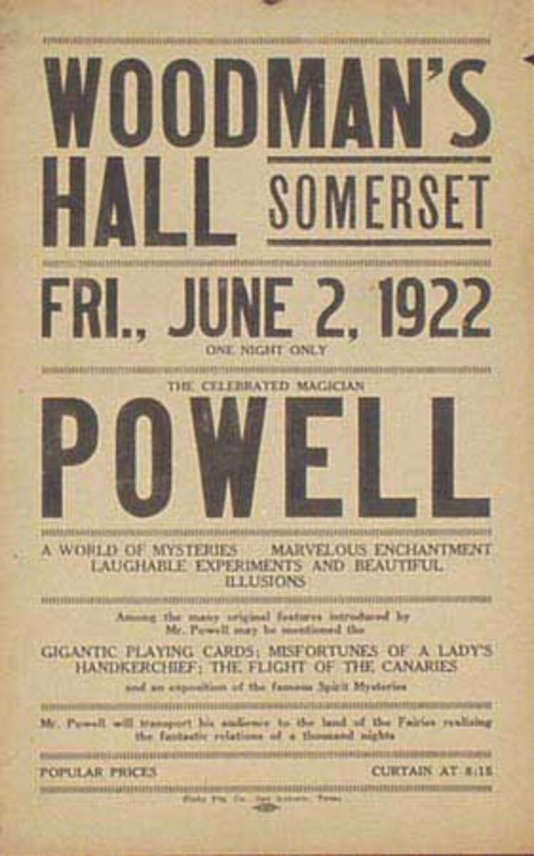 The Celebrated Magician Powell Original Vintage Advertising Poster Broadside