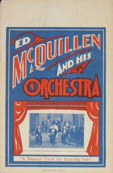 Ed McQuillen and His Orchestra Original Vintage Advertising Poster A Musical Treat For Dancing Feet
