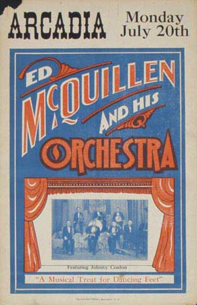 Ed McQuillen and His Orchestra Original Vintage Advertising Poster Arcadia