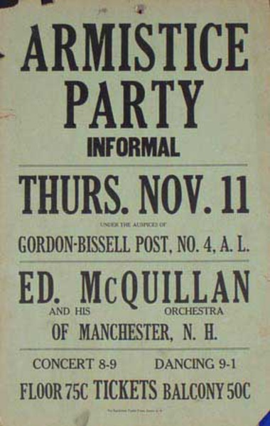 Ed McQuillen and His Orchestra Original Vintage Advertising Poster Armistice Party
