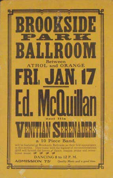 Ed McQuillen and His Orchestra Original Vintage Advertising Poster Brookside Park
