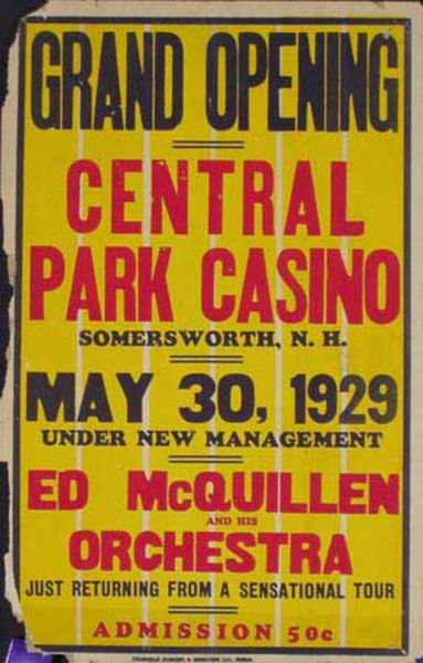 Ed McQuillen and His Orchestra Original Vintage Advertising Poster Central Park Casino