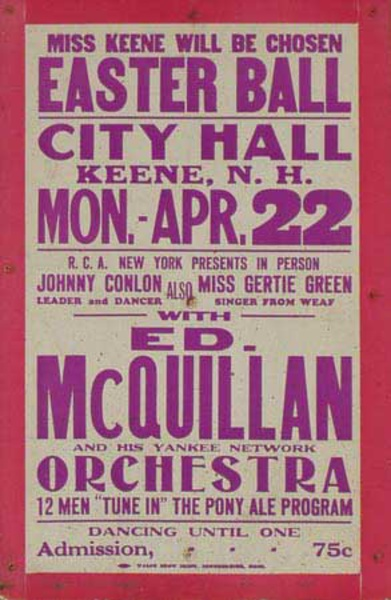 Ed McQuillen and His Orchestra Original Vintage Advertising Poster Easter Ball