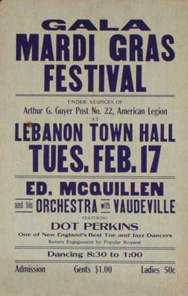 Ed McQuillen and His Orchestra Original Vintage Advertising Poster Mardi Gras