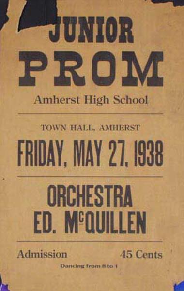 Ed McQuillen and His Orchestra Original Vintage Advertising Poster Junior Prom