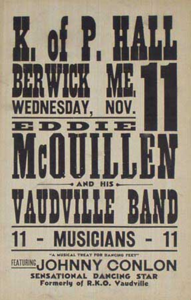 Ed McQuillen and His Orchestra Original Vintage Advertising Poster Knights of Pythias Hall