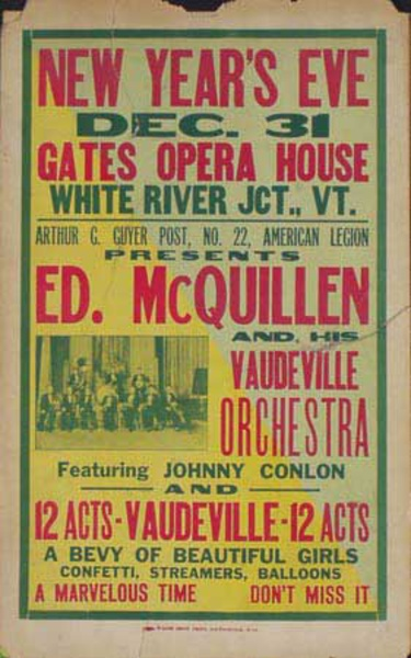 Ed McQuillen and His Orchestra Original Vintage Advertising Poster New Years Eve