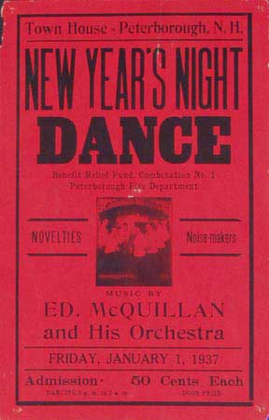 Ed McQuillen and His Orchestra Original Vintage Advertising Poster New Years Eve red